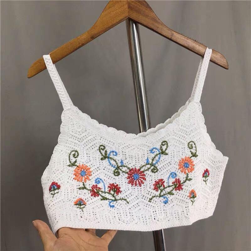 áo 2s 2 dây len sợi thêu hoa leo (949#)