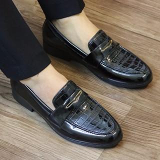 Giày tây nam da bóng dập vân đai én sang trọng