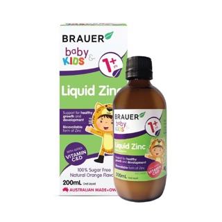 Siro Khoáng chất Kẽm Brauer Liquid Zinc 200ml hỗ trợ sức khỏe xương, răng, và da cho trẻ 1 tuổi trở lên