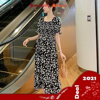 [ HÀNG QUẢNG CHÂU ] Đầm Bầu DÁNG DÀI hóa cúc Vải Voan V10