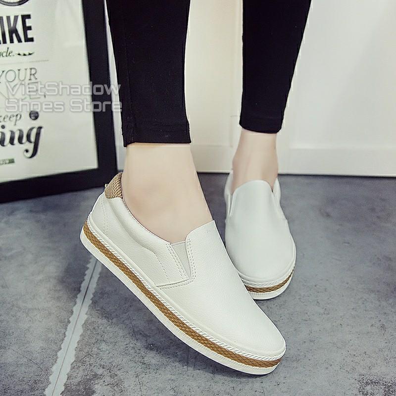 Slip on nữ - Giày lười da nữ - Chất liệu da PU 2 màu trắng và đen - Mã SP 6075