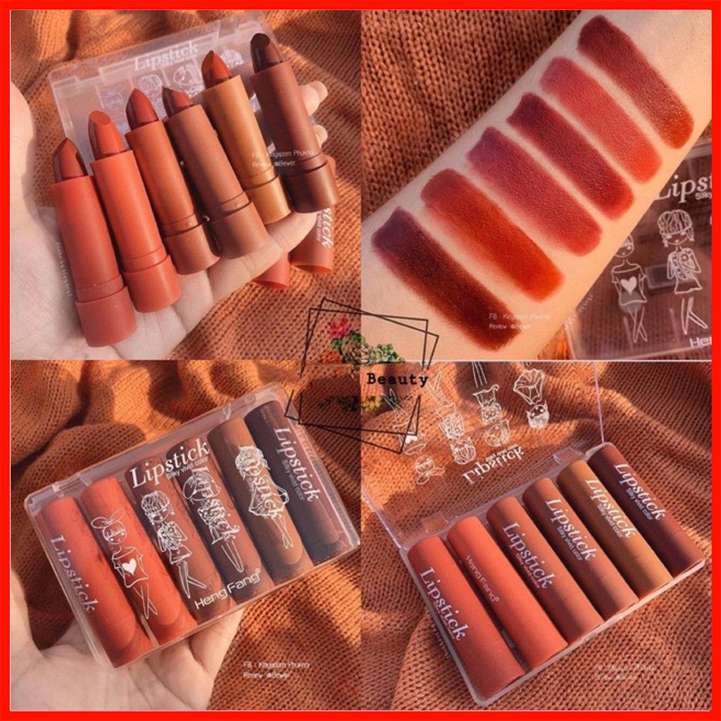 Set 6 Son Thỏi HengFang Lipstick Siiky Vivid Color Chính Hãng HengFang nội địa Trung