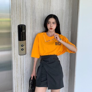 Mint overseas shipping short-sleeved t-shirt women's 2019 new ins tide summer Korean version of the loose bottoming shi
