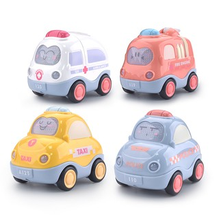 Bộ đồ chơi ô tô quán tính KAVY có đèn và nhạc mô tả xe cứu hỏa, cứu thương, cảnh sát, taxi đẹp và dễ thương thumbnail