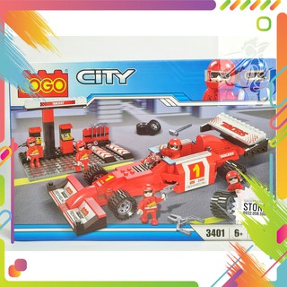 Lego Cogo 3401 Lắp Ráp Trạm Bảo Trì Xe Đua F1 ( Đỏ – 218 Mảnh )- Hàng có sẵn