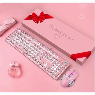 [Hàng sẵn] Bộ bàn phím chuột cơ chuẩn 100% XM-T520 màu hồng thumbnail