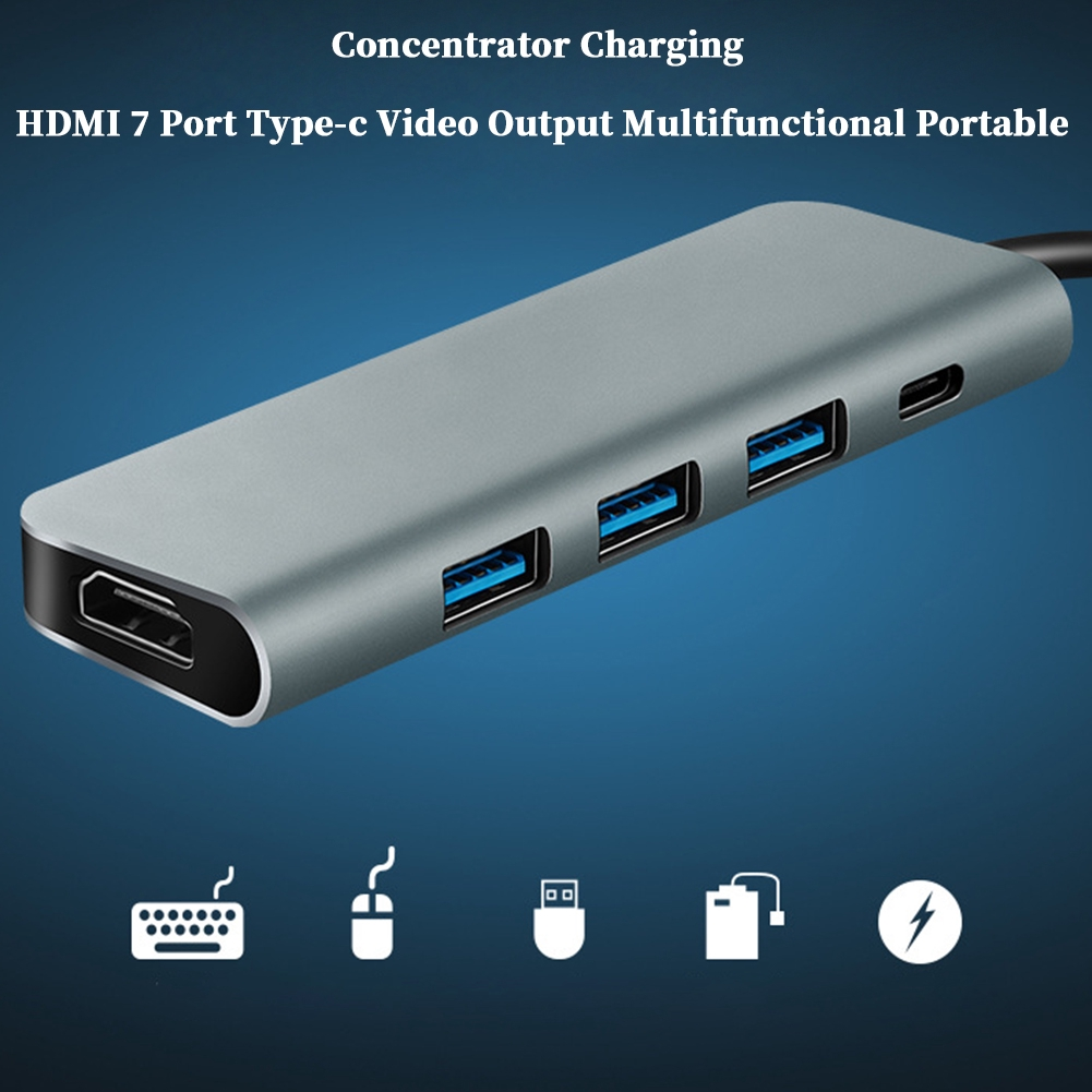 7 Port Concentrator Video Output Type-c HDMI Portable Multifunctional USB-C Charging
