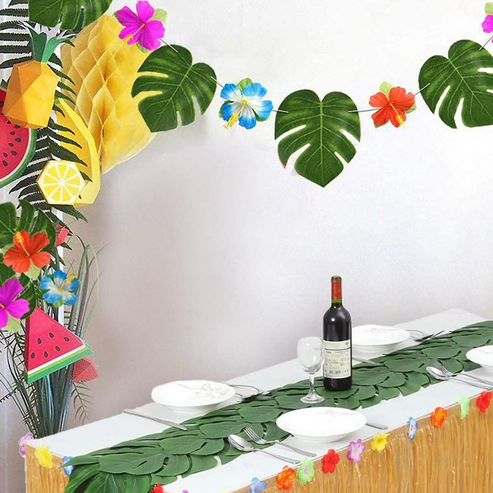 60pcs Reusable Party Durable Wedding DIY Tropical Decoration Hibiscus Flower Turtle Leaf Artificial Plant Set