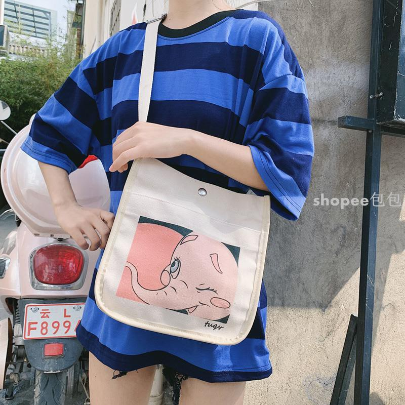 Túi vải nữ túi đeo vai nữ sinh hoạt hình in túi vải văn học