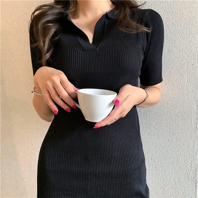 Mặc gì đẹp: Siêu xinh với Váy Thun Tăm Polo PEONYB Nữ [FREESHIP] 🌸 Đầm tay lỡ cổ V dáng ôm body dự tiệc bánh bèo tiểu thư Ulzzang 🌸
