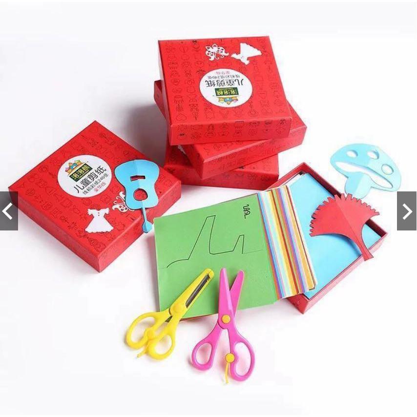 [FOLLOW 9K – 13H – 24/05/18] Bộ giấy thủ công in sẵn 240 hình kèm 2 kéo cắt giấy giúp bé luyện đôi tay khéo léo