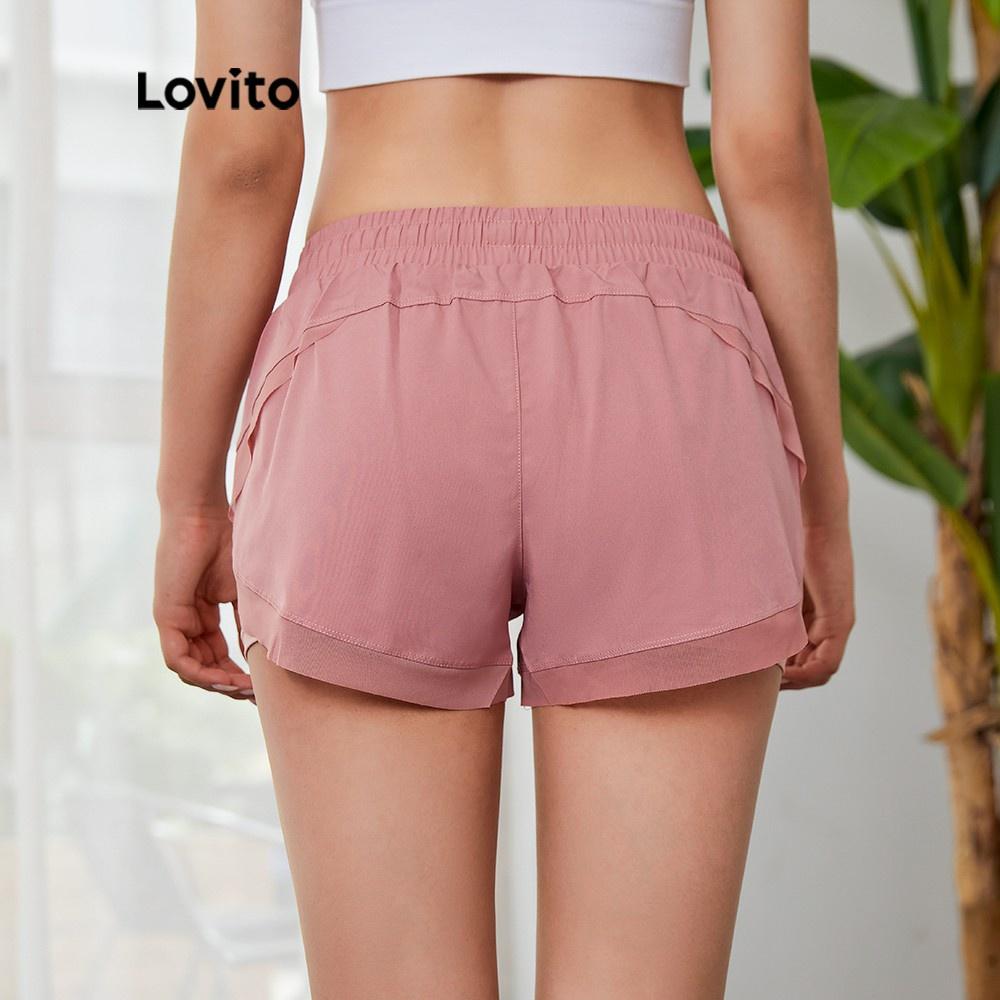 Mặc gì đẹp: Gọn tiện với Quần short mặc ở nhà Lovito dáng rộng lưng kiểu dây rút nhanh khô L03048 (màu hồng)