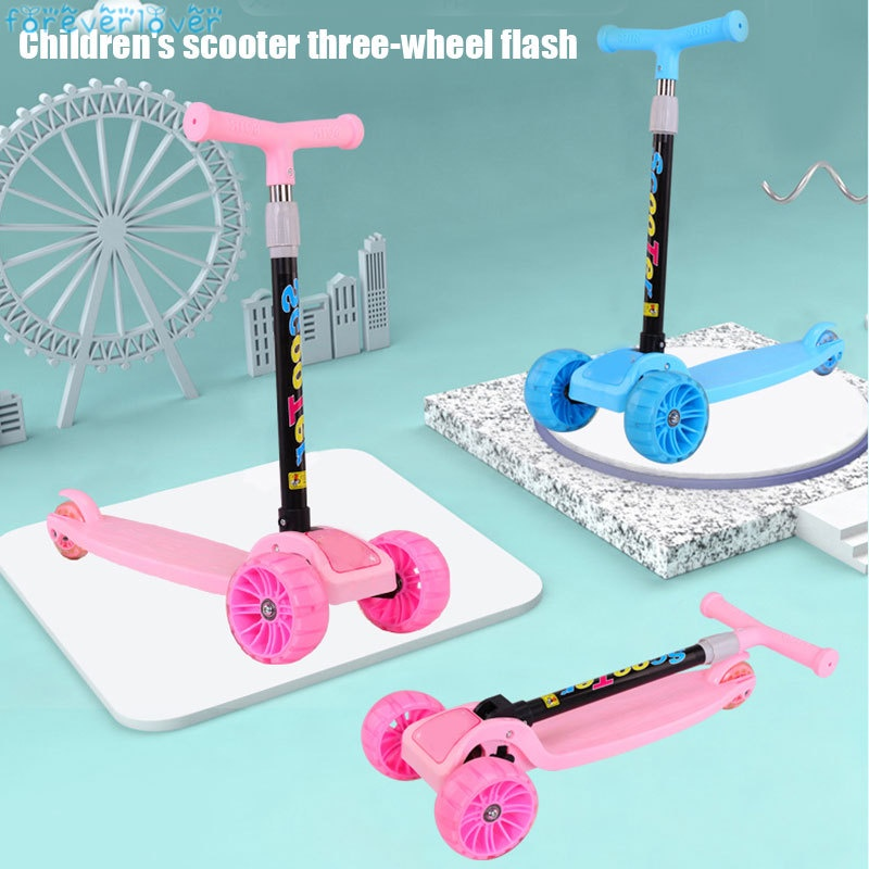 Children Kids Scooter Tricycle Ride Toys with Flashing Light Wheels for Outdoor