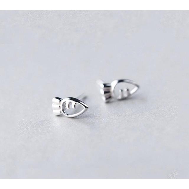Khuyên tai cà tốt mini bạc nguyên chất