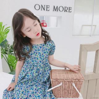 Đầm hoa cổ tròn xinh xắn cho bé gái