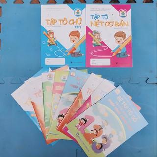 combo 10 quyển tập tô chữ sỗ, chữ viết và các nét cho bé (tặng kèm bút chì 2b)