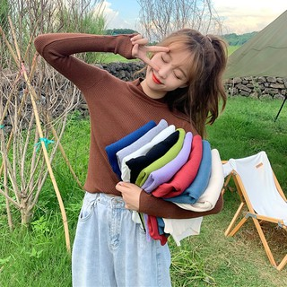 Áo Sweater Tay Dài Cổ Lọ Dáng Ôm Xinh Xắn Thời Trang Hàn Quốc 2020