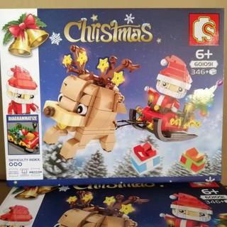 Hàng mới Lego Merry Christmas gift Santa Claus Chú tuần lộc kéo xe cùng ông già Noel sembo 601091