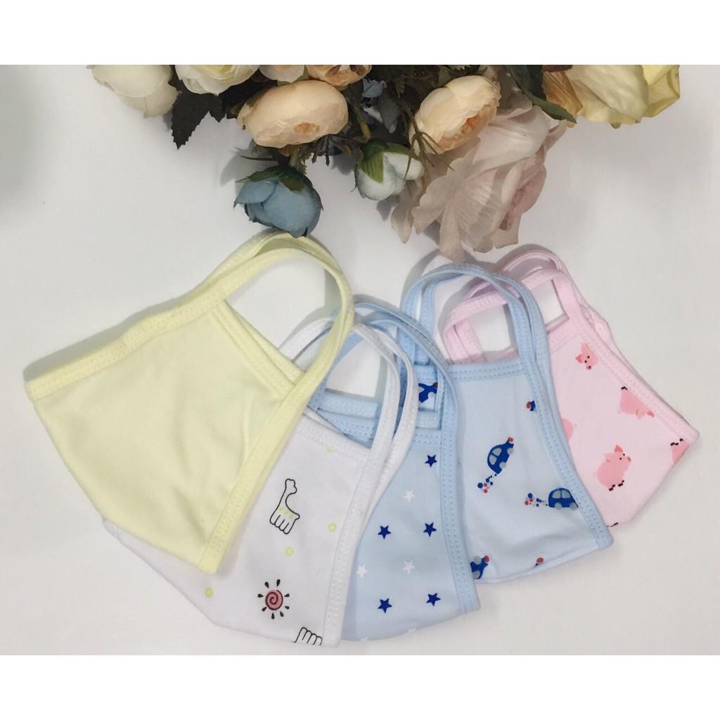 [Hilarystore2211]Combo 5 khẩu trang vải cotton mềm mịn thoáng mát cho bé 0-4 tuổi