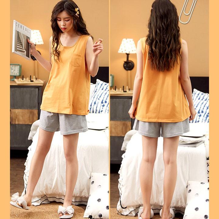 Mặc gì đẹp: Gọn tiện với Bộ Đồ Ngủ Nữ Quần Áo Ba Lỗ Vải Cotton Mặc Ở Nhà Và Đi Chơi Mùa Hè Xinh Cộc Tay Thắt Nơ - Dáng Hàn Quốc BĐN25
