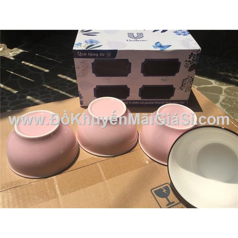Bộ 4 chén sứ tráng men màu hồng pastel Unilever tặng có hộp - Kt chén: (11.2 x 6.2 x 6.2) cm.