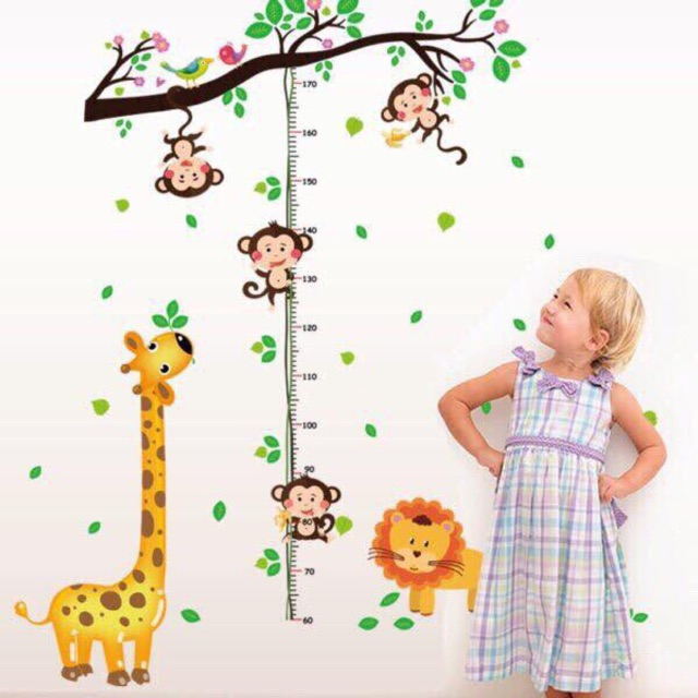 Decal dán tường khỉ leo cây đo chiều cao