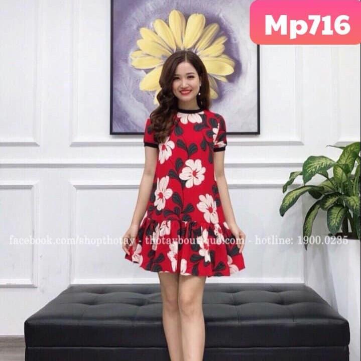 Đầm suông tay con in hoa viền bèo dễ thương MP716 SỈ LẺ 1 GIÁ ?(1MÀU)- kèm hình chụp thật sp ?