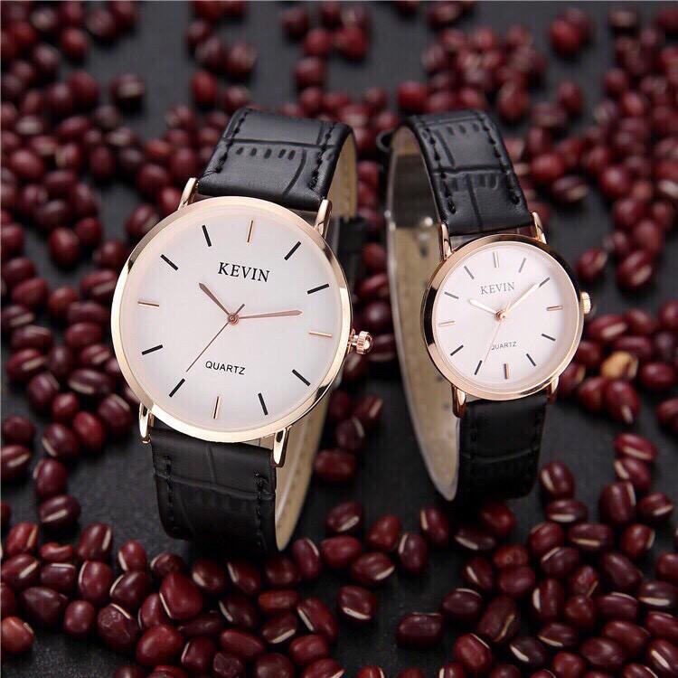 Đồng hồ cặp thời trang nam nữ Kevin viền bạc GS28