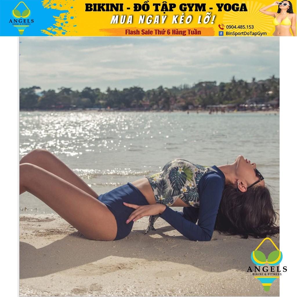 Bikini,Bộ Đồ Bơi Hoa 2 Mảnh Dài Tay , Hàng Nhập đủ size M L XL,BHN009