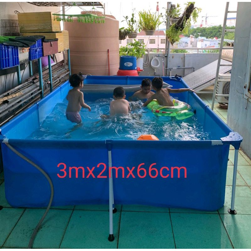 Bể bơi lắp ghép 3mx2m tặng kính