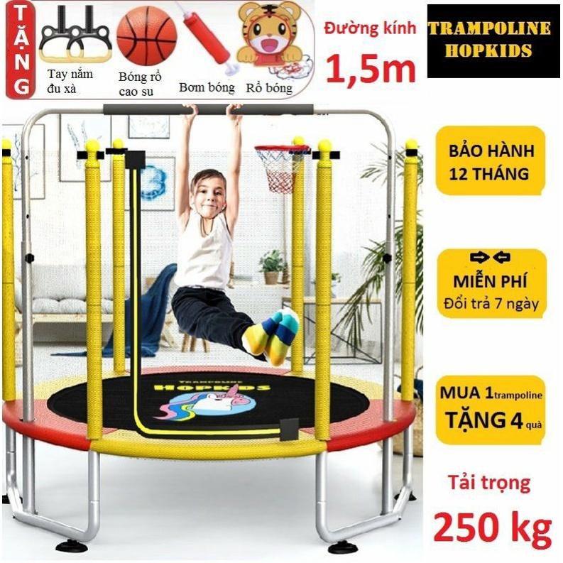 Nhà nhún nhảy cho bé Trampoline Hopkids, bạt nhún quây bóng có xà đơn vận động tăng chiều cao tải trọng 250kg