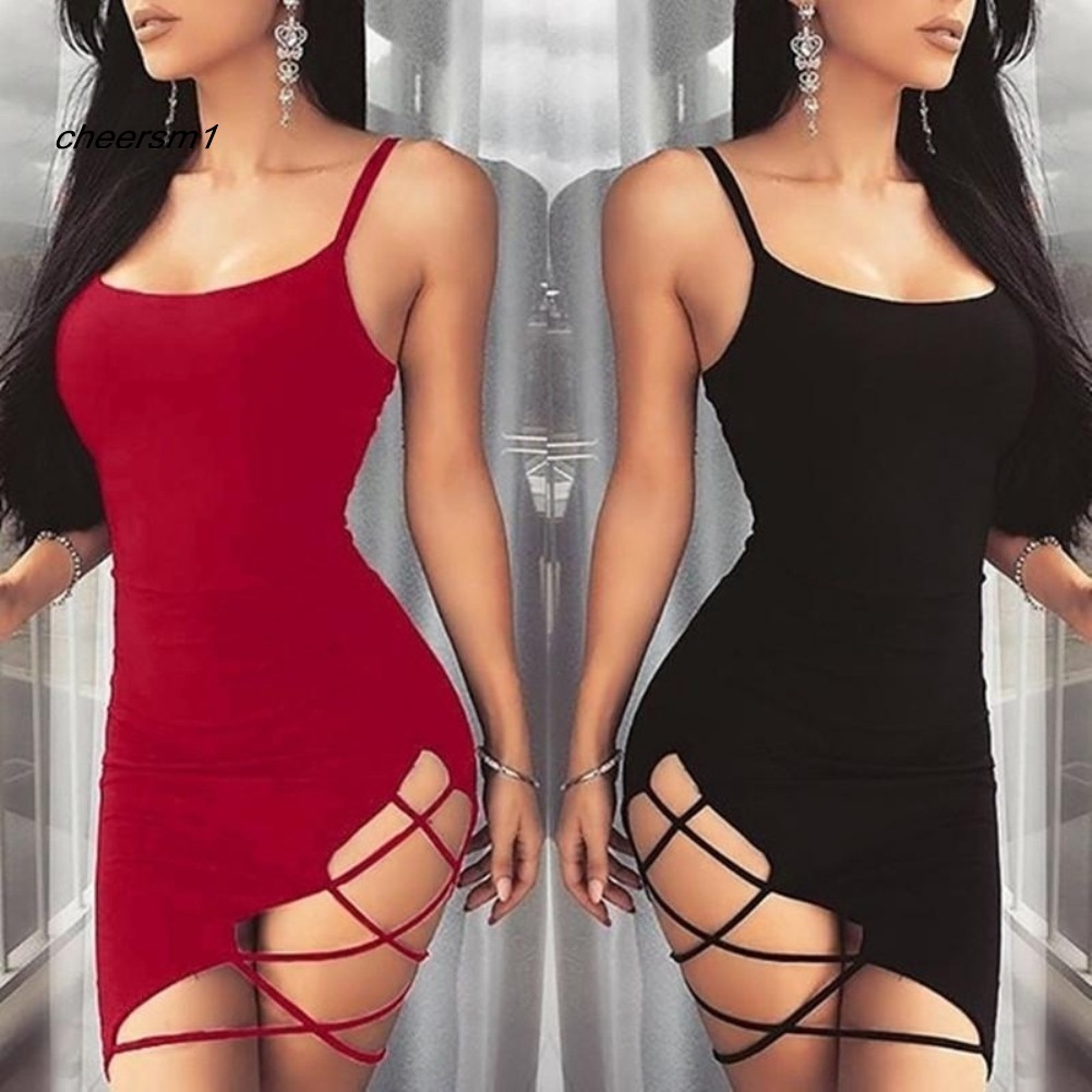 CHE♥Party Club Solid Color Women Backless Bodycon Sexy Cross Hollow Sling Mini Dress