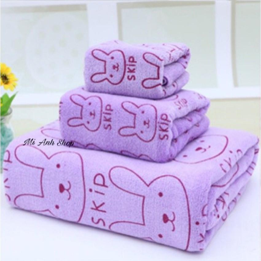 Bộ 3 khăn tắm-khăn mặt-khăn-khăn lau tóc (Tím)