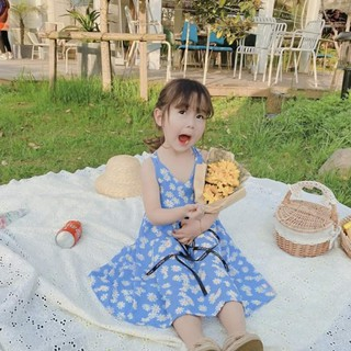 #Váy 2 dây cho bé -  hoa cúc họa mi chéo lưng - size 10_22kg