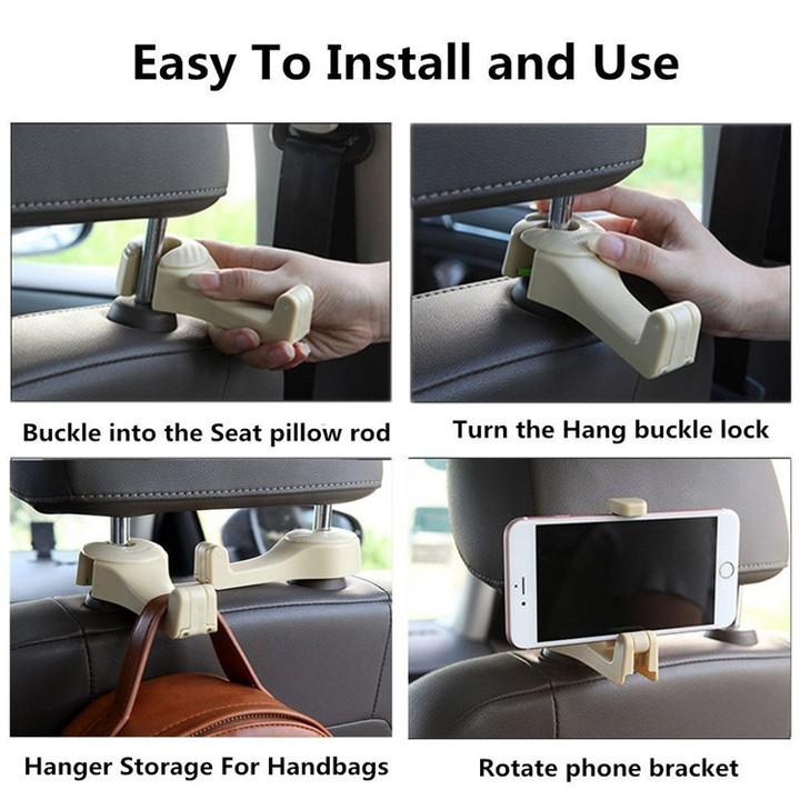 1 Móc treo đồ sau ghế, kiêm giá đỡ điện thoại đa năng trên xe hơi CS-G01