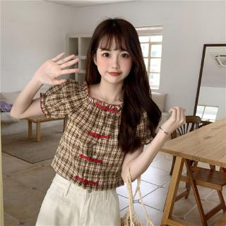 with vintage bubble price, Real photo, real cheongsam buckle, top match short plaid sleeve and mix