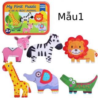 Đồ chơi ghép hình bằng gỗ Puzzle Games 6-In-A-Box My First Puzzle Set of Animal