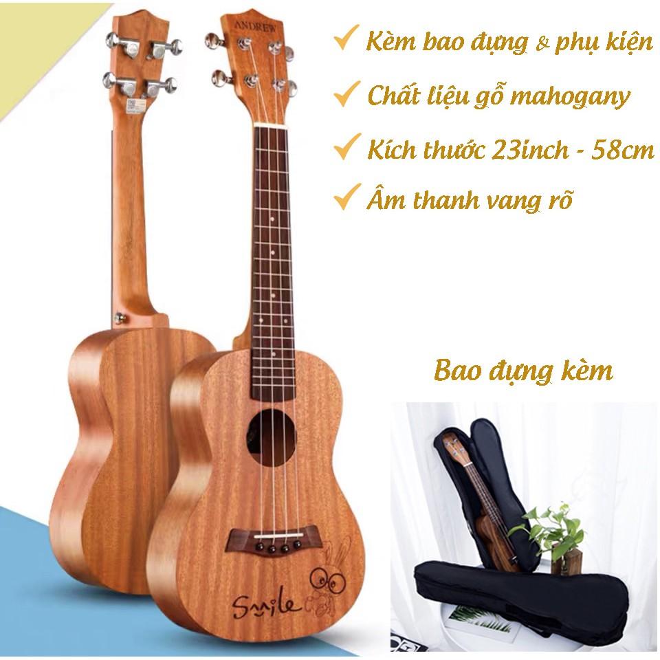 Đàn Ukulele Concert Size 23inch Gỗ Kèm Bao Đựng Đàn Và Full Phụ Kiện