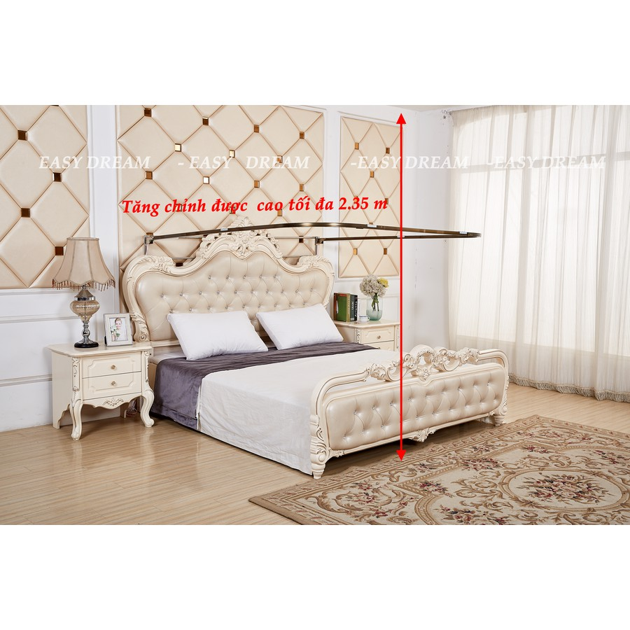Màn khung cao cấp không khoan tường  có dây kéo  tăng chỉnh được độ cao