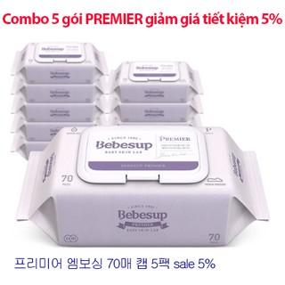 [COMBO 5 Gói Tiết kiệm thêm 5%] Khăn ướt em bé Bebesup Premier 70 tờ/gói- nhập khẩu nguyên gói Hàn Quốc