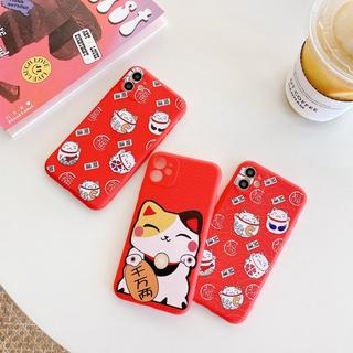 Ốp Lưng Silicone Hình Con Mèo May Mắn Cho Iphone 12 11 pro max Xs max xr x 7 / 8 Plus