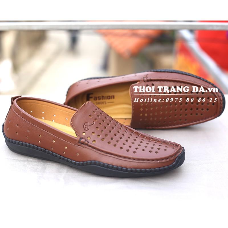 Giày lười da thật đục lỗ thoáng khí sang chảnh - GLMM122