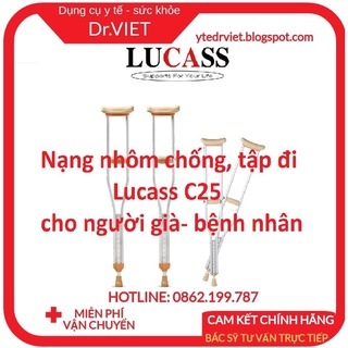 Nạng nách hợp kim nhôm cao cấp LUCASS C25- Nạng tập đi cho người khuyết tật, người bị tai nạn ở chân phục hồi chức năng thumbnail