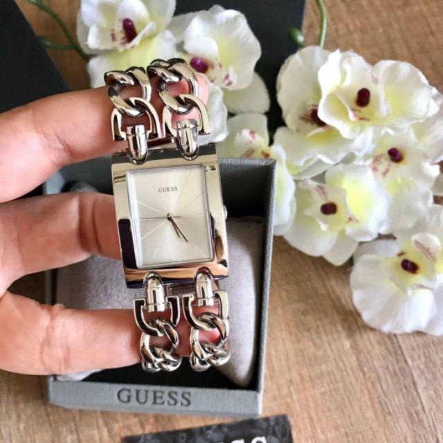 นาฬิกา สีเงิน สายเป็นเกลียวสวย GUESS Women's Rose Gold Tone Link Chain Bracelet  Watch U1117L1