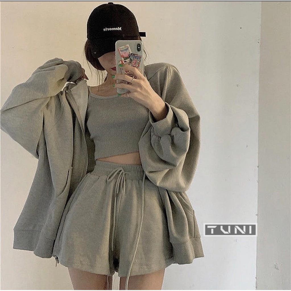 Set đồ hoodie nữ trơn ulzzang chất cotton cho mùa hè ( ẢNH THẬT )