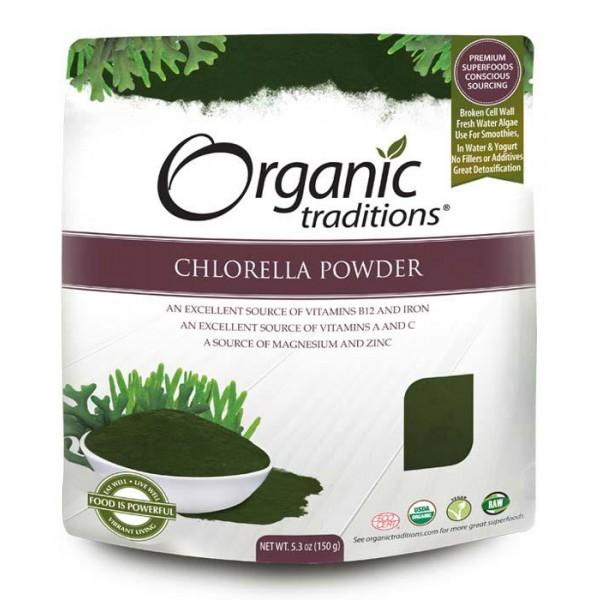 Bột tảo lục chlorella hữu cơ Organic Traditions 150g