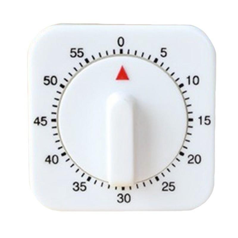 Đồng hồ cơ đếm ngược thời gian 60 phút màu trắng bằng nhựa chuyên dùng