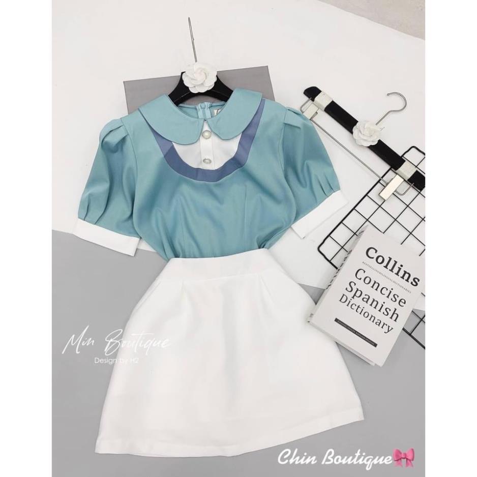 Set áo cổ sen phối mix chân váy trắng hàng thiết kế