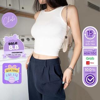 [Mã WABRCB88 giảm 10% đơn 99k] Áo croptop nữ Choobe chất cotton thoáng mát áo ba lỗ cộc tay kiểu ôm vải co giãn A17