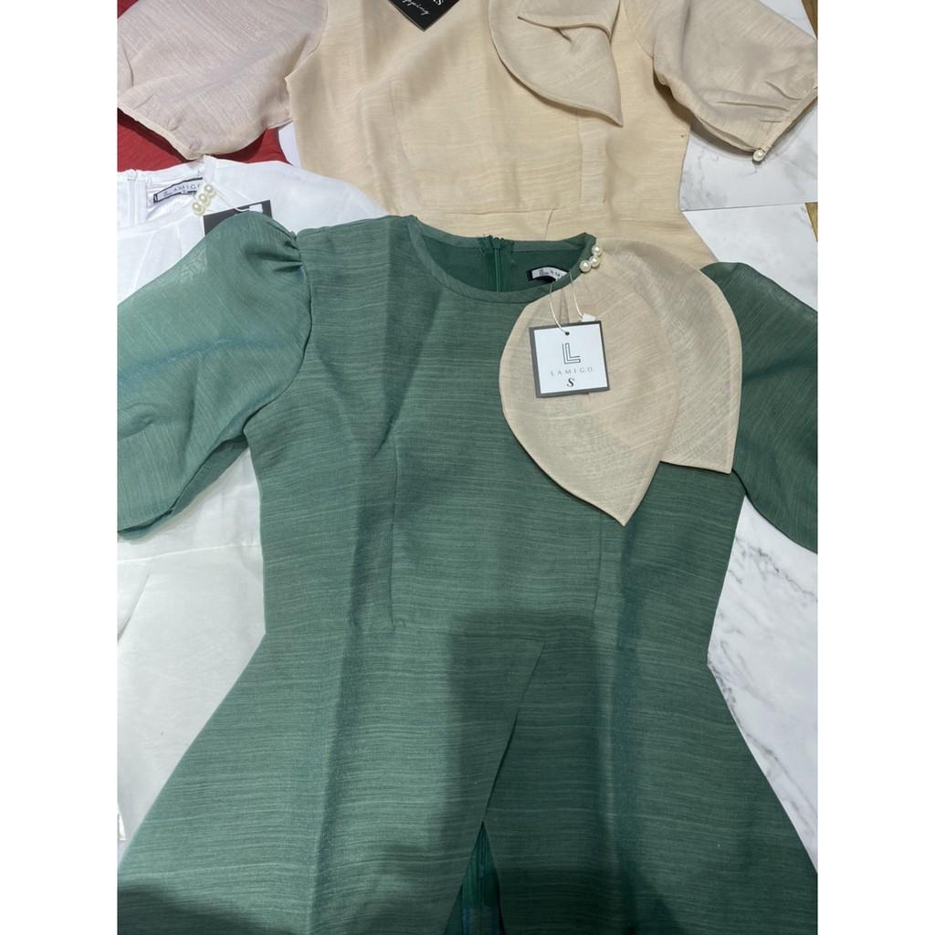 Mặc gì đẹp: Lịch sự với Áo sơ mi tơ xước dáng pelum cổ lá nhọn cộc tay - áo sơ mi công sở nữ 2 lớp 061